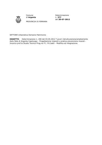 Comune Determinazione di Argenta n. 377 del 20-07-2012 ...