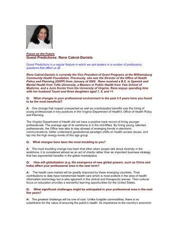 Guest Predictions: Rene Cabral-Daniels - The Regis Group Inc