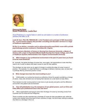 Guest Predictions: Leslie Durr - The Regis Group Inc