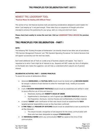 Principles For Deliberation Part I - The Regis Group Inc