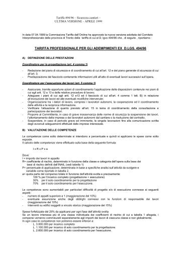 tariffa per coordinatore della sicurezza