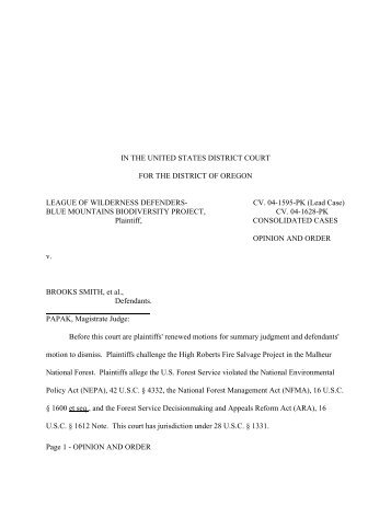 Order Declaring Case Moot - Forest Service Employees for ...