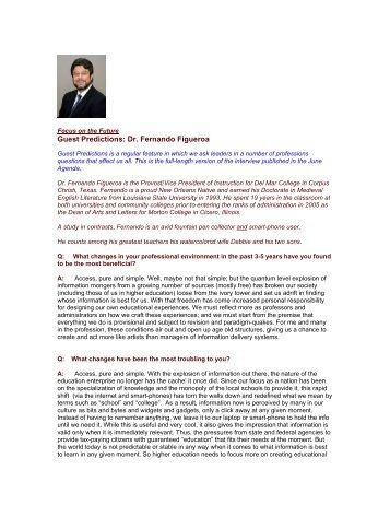Guest Predictions: Dr. Fernando Figueroa - The Regis Group Inc
