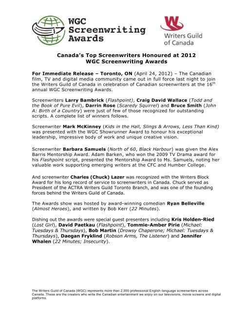 2012 WGC Screenwriting Awards Winners Writers Guild Of Canada