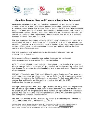 IPA 2012-2014 Ratified - Writers Guild of Canada
