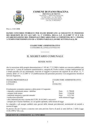 COMUNE DI LEVICO TERME - Agenzia del Lavoro