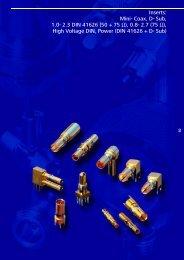 Inserts: Mini- Coax, D- Sub, 1.0- 2.3 DIN 41626 (50 + 75 Ω), 0.8- 2.7 ...