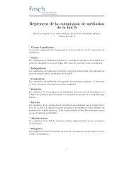 Règlement de la commission de médiation de la fmCh