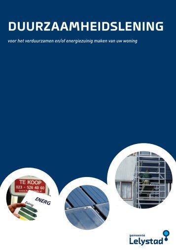 Brochure Duurzaamheidslening - Gemeente Lelystad