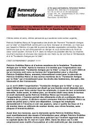 Information sur des MENACES DE MORT contre ... - Queeramnesty.ch