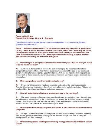 Guest Predictions: Bruce T. Roberts - The Regis Group Inc
