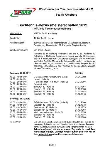 Ausschreibung - WTTV Bezirk Arnsberg