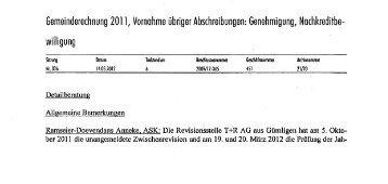 Gemeinderechnung 201 1, Vornahme übriger ... - Jonathan Gimmel