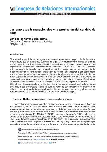 Las empresas transnacionales y la prestación del servicio de ... - IRI