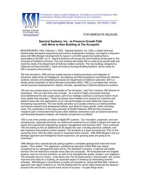 Spectral Systems Inc - Sierra Nevada Corporation