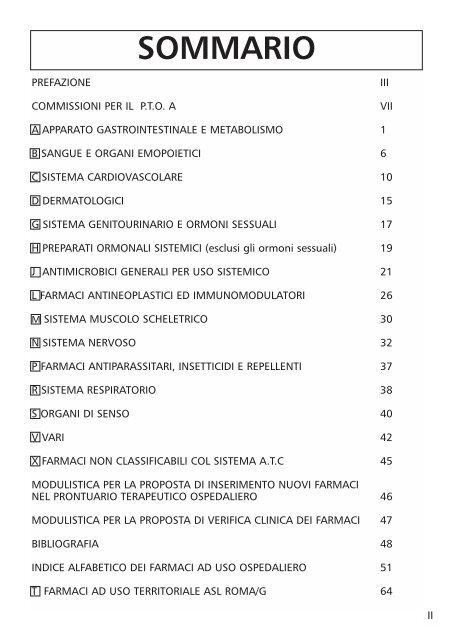 Indice Dei Farmaci.Sommario Azienda Complesso Ospedaliero San Filippo Neri