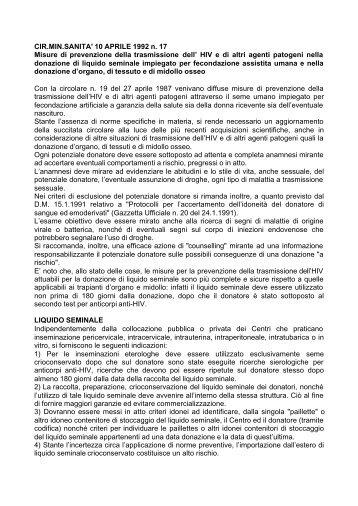 10 APRILE 1992 n. 17 Misure di prevenzione della trasmissione dell