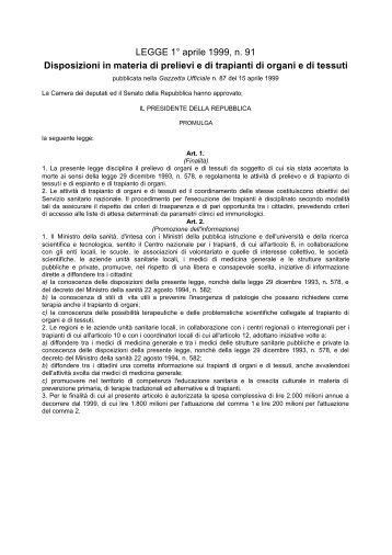Legge 91 - Azienda Complesso Ospedaliero San Filippo Neri