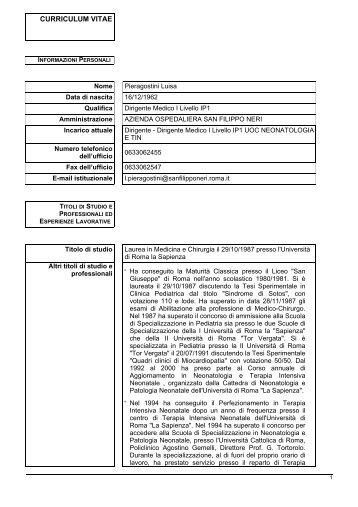 curriculum vitae - Azienda Complesso Ospedaliero San Filippo Neri