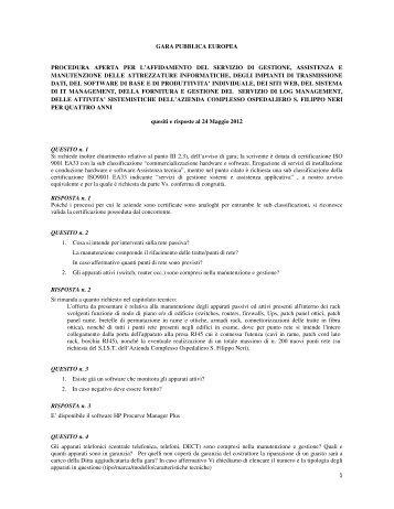 quesiti - Azienda Complesso Ospedaliero San Filippo Neri