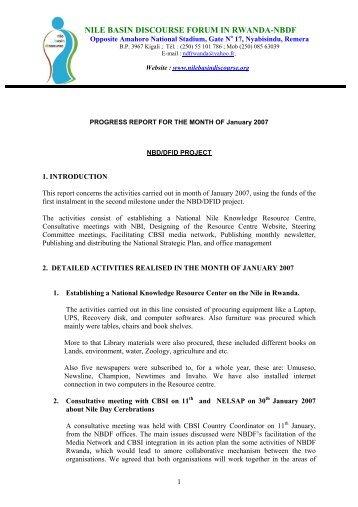 NBDF Rwanda Activity Report January 2007