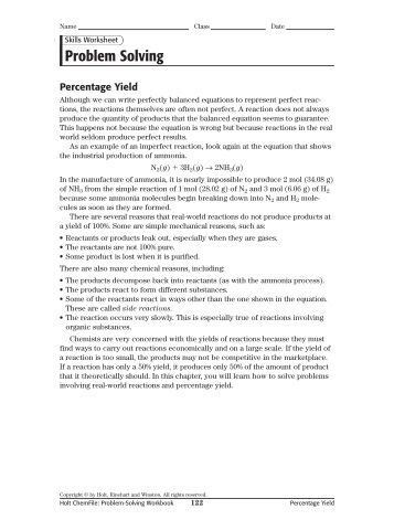 Worksheets. Theoretical And Percent Yield Worksheet. Opossumsoft ...
