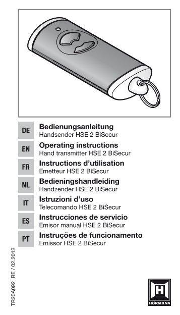 Emisor manual HSE 2 BiSecur - Hörmann