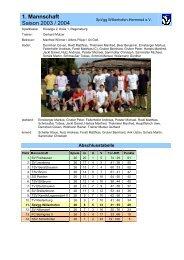 1. Mannschaft Saison 2003 / 2004 - SpVgg Willenhofen-Herrnried eV