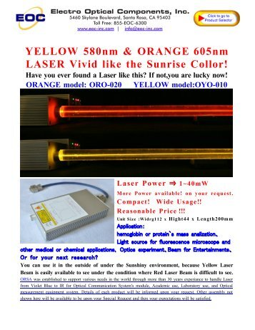 580nm Laser Diode - Electro Optical Components, Inc.