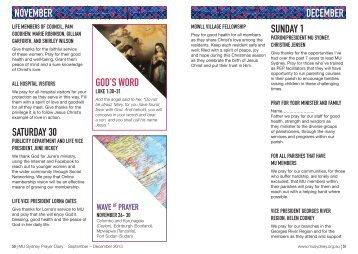 MU Sydney Prayer Diary December 2013