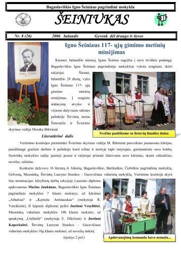 2006-04, Nr.26 - Bagaslaviškio Igno Šeiniaus pagrindinė mokykla