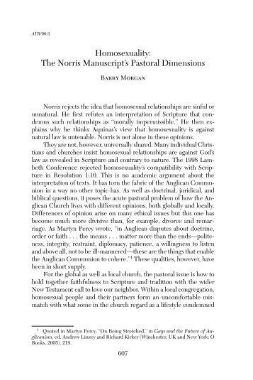Barry C. Morgan, Summer 2008 (V.90 | N.3) Homosexuality
