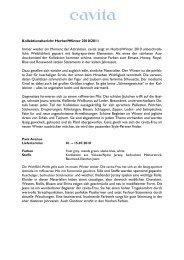 Kollektionsbericht Herbst/Winter 2010/2011 Immer wieder ein - Cavita
