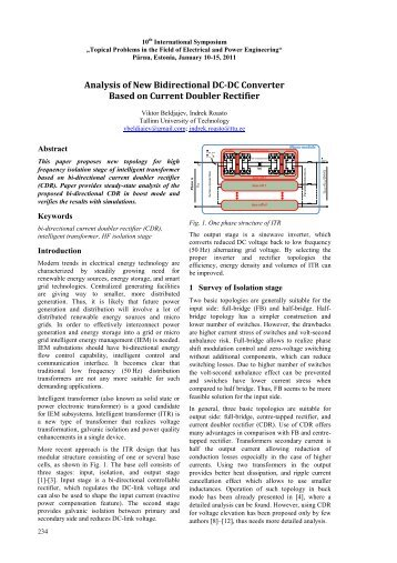 Analysis of New Bidirectional DC-DC Converter Based on Current ...