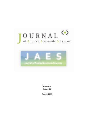 Volume III Issue1(3) Spring 2008 - JAES | Journal of Applied ...