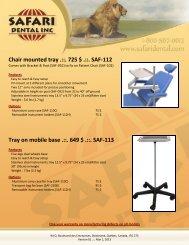 Chair mounted tray .::. 725 $ .::. SAF-112 Tray on ... - Safari Dental