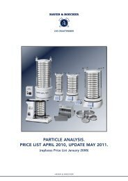 particle analysis. price list april 2010, update may 2011. - WS Tyler