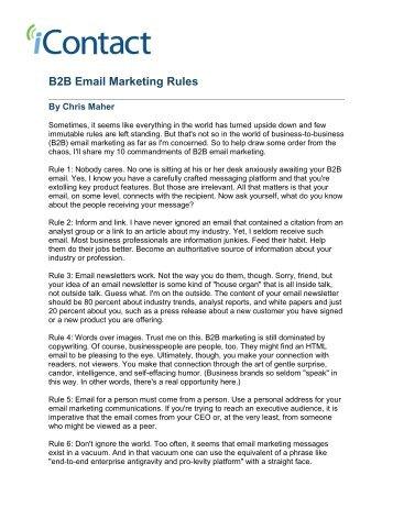 PDF: B2B Email Marketing Rules - iContact