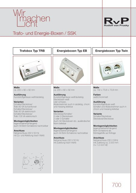 700 Trafo Und Energieboxen Schalter Steckdosen Kombination