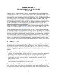 LEAVE NO TRACE TRAINER COURSE GUIDELINES