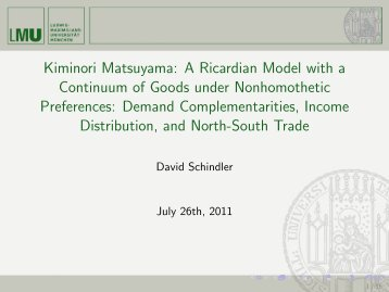 Kiminori Matsuyama: A Ricardian Model with a Continuum of Goods ...