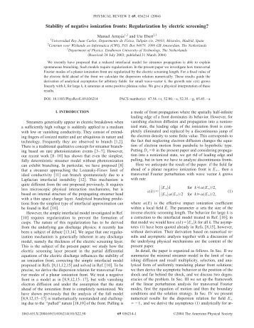 Stability of negative ionization fronts - American Physical Society