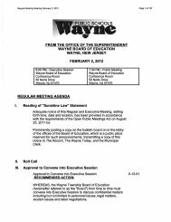 FROM THE OFFICE OF THE SUPERINTENDENT WAYNE BOARD ...