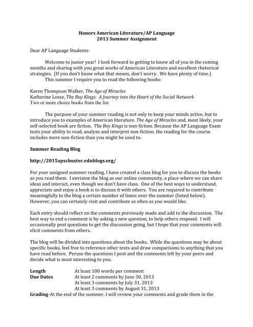Honors American Literature/AP Language 2013 Summer
