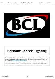 BCL Hire Price List March 2012.xlsx - Brisbane Concert Lighting