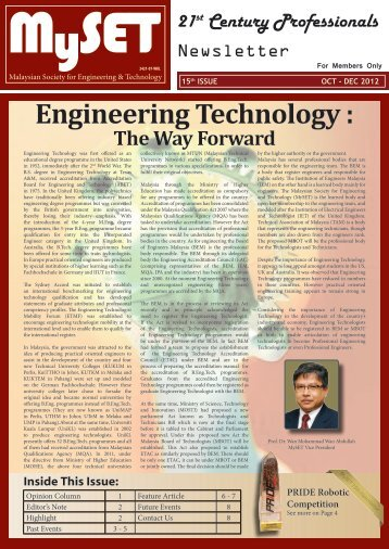 Engineering Technology : - malaysian society for engineering and ...