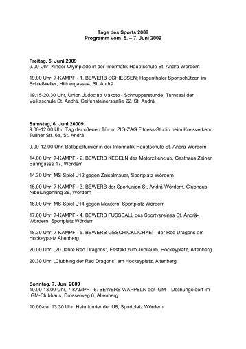 Tage des Sports 2009 Programm vom 5. – 7. Juni 2009 ... - XundHeit