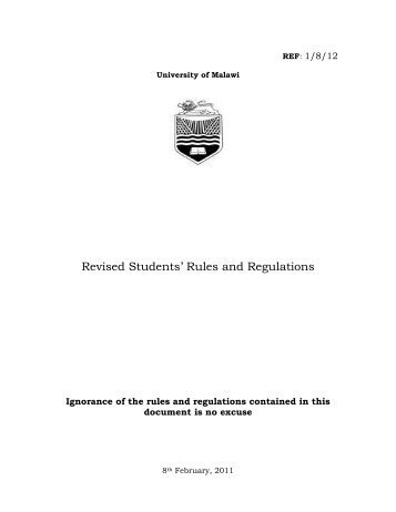 Revised Students' Rules and Regulations - The Malawi Polytechnic