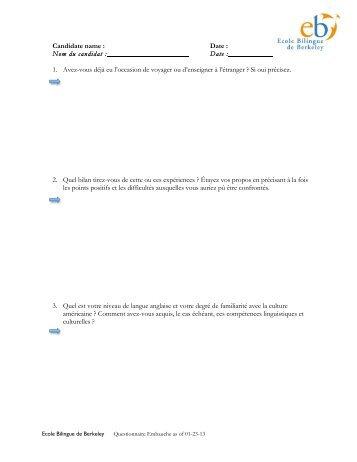 Questions concernant votre motivation - Ecole Bilingue de Berkeley