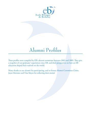 Alumni Profiles - Ecole Bilingue de Berkeley